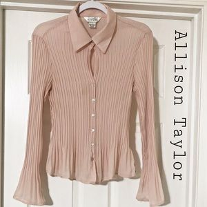Allison Taylor dusty rose pleated blouse
